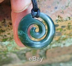 Nz Pounamu Greenstone Arahura Nephrite Flower Jade Maori Spiral Koru Pendant