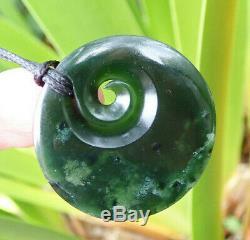 Nz Pounamu Greenstone Dark Arahura Nephrite Jade Maori Koru Disk Pendant