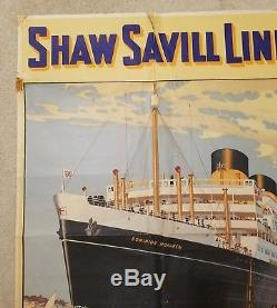 Old Advertising poster SHAW SAVILL LINES NEW ZEALAND c. 1938 DOMINION MONARCH