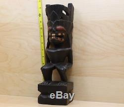 Old Maori Hand Carved Wooden Totem New Zealand