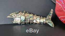 Old New Zealand Articulating Fish in Paua Shell beautiful collection & display