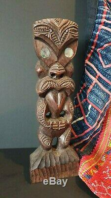 Old New Zealand Maori Carved Wooden Tiki with Paua Shell Eyes beautiful collect