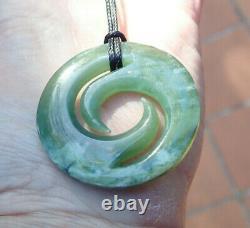 One Of Kind Gem Nz Pounamu Greenstone Inanga Nephrite Jade Maori Koru Pendant