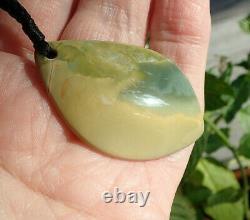 One Of Kind Hand Carved Rarest Nz Maori Pounamu Greenstone Flower Jade Pendant