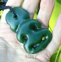 One Of Kind New Zealand Greenstone Pounamu Nephrite Jade Red Eyed Maori Hei Tiki