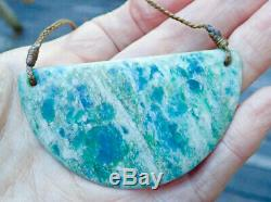 One Of Kind New Zealand Pounamu Aotea Stone Fuschite Maori Breastplate Necklace