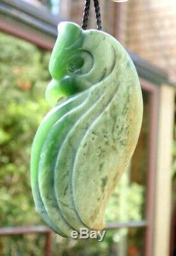One Of Kind Niki Nepia Nz Pounamu Greenstone Flower Jade Maori Manu Bird Pendant