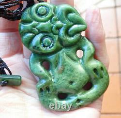 One Of Kind Nz Greenstone Pounamu Nephrite Flower Jade Paua Eyed Maori Hei Tiki