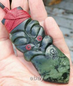 One Of Kind Nz Greenstone Pounamu Nephrite Jade Bound Maori Hei Tiki Taiaha