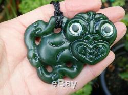 One Of Kind Nz Greenstone Pounamu Nephrite Jade Paua Eyed Maori Hei Tiki