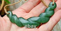 One Of Kind Nz Pounamu Greenstone Nephrite Jade Maori Pikorua Twist Necklace