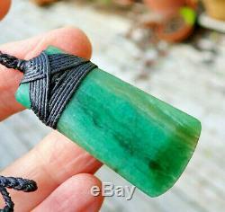 One Of Kind Nz Pounamu Turquoise Aotea Stone Fuschite Bound Maori Hei Toki Adze