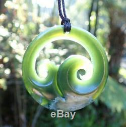 One Of Kind Rarest Nz Pounamu Greenstone Picture Jade Maori Koru Ocean Pendant