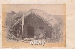 Original Photo of Maori House & Maori with Patu & Paddle New Zealand C1885