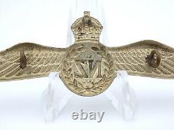 Original WWII New Zealand RNZAF Metal Brevet Pilot Wings & Backer