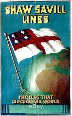 Original vintage poster SHAW SAVILL LINES NEW ZEALAND c. 1925