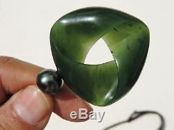Pounamu Greenstone Nephrite GEM FLAWLESS MARSDEN JADE BLACK PEARL MOEBIUS Ribbon