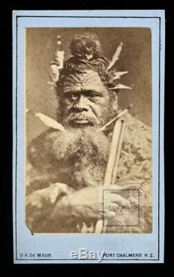RARE Antique 1800s Photo Maori Chief New Zealand Photographer De Maus / Tattoos