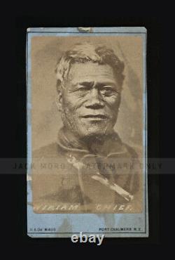 RARE Antique 1800s Photo WIRIAM CHIEF New Zealand Photographer De Maus / Tattoos