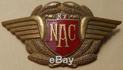 RARE Art Deco Style NAC 1950's NEW ZEALAND National Airways Corp METAL Cap Badge