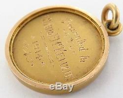 Rare 1914 Solid 15ct Gold Engraved Fob U. O. A. D Druids Totara Lodge, New Zealand