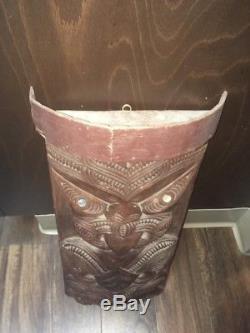 Rare Antique Maori Tiki Panel Sculpture Art New Zealand Signed Totem Native