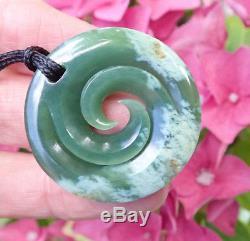 Rare New Zealand Greenstone Pounamu Nephrite Flower Jade Maori Spiral Koru