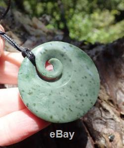 Rare New Zealand Greenstone Pounamu Nephrite Kokopu Jade Maori Koru Disk Pendant