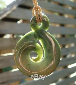Rare Nz Greenstone Pounamu Nephrite Flower Jade Maori Koru Eternity Twist