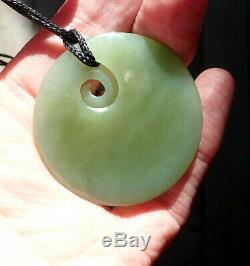 Rare Translucent Nz Inanga Pounamu Greenstone Nephrite Jade Maori Koru Disk