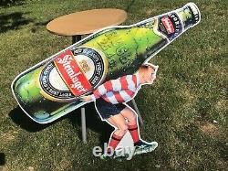 Rare Vintage Steinlager Beer Rugby Player Tin Beer Sign New Zealand's Finest Bee