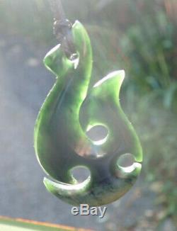 Rarest Nz Pounamu Greenstone Dark Flower Jade Maori Ornate Hei Matau Fish Hook