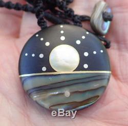 Recycled Ebony New Zealand Paua Shell Sterling Silver Nz Maori Inlaid Sun Disk