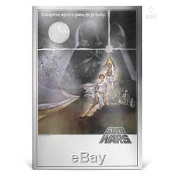 STAR WARS A NEW HOPE 2018 NUIE 35g PURE SILVER FOIL POSTER