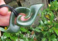 S Gardiner Nz Maori Greenstone Pounamu Nephrite Arahura Jade Double Koru Hook