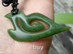 S Gardiner Nz Maori Greenstone Pounamu Nephrite Jade Koru Matau Pendant