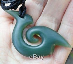 S Gardiner Nz Maori Inanga Greenstone Pounamu Nephrite Jade Hei Matau Fish Hook