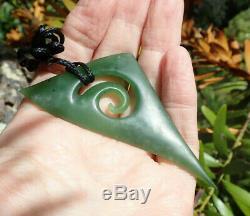 S Gardiner Nz Maori Kahurangi Greenstone Pounamu Nephrite Jade Koru Pendant