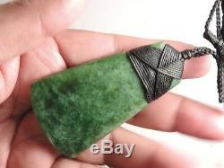 Shanes Greenstone Jade Pounamu Nephrite Maori Medium Broad TOKI MOTTLED MARSDEN