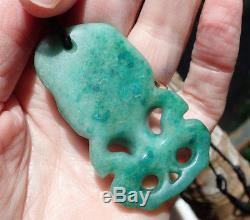 Shannon Mahuika New Zealand Turquoise Aotea Stone (fuschite) Maori Hei Tiki