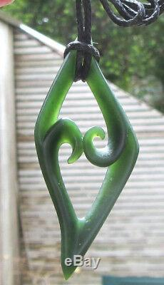 Shaun Gardiner Nz Maori Greenstone Pounamu Arahura Jade Double Koru Pendant