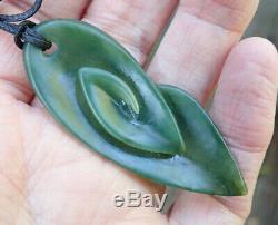 Shaun Gardiner Nz Maori Greenstone Pounamu Kahurangi Jade Koru Leaf Pendant