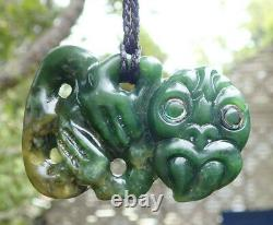 Side Hanging Nz Greenstone Pounamu Nephrite Flower Jade Paua Eyed Maori Hei Tiki