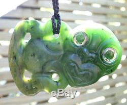 Side Hanging Nz Raukaraka Greenstone Pounamu Nephrite Flower Jade Maori Hei Tiki