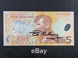 Sir Edmund Hillary Signed New Zealand 5 Dollar Note JSA & PSA NZ Five Auto Ed