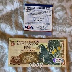 Sir Edmund Hillary Signed New Zealand 5 Dollar Note PSA/DNA Authenticated RARE