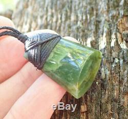 Small Gem Nz Maori Greenstone Pounamu Nephrite Flower Jade Bound Hei Toki Adze