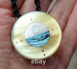 South Sea Pearl Recycled Ebony Inlaid Nz Paua Shell Silver Sun Ocean Necklace