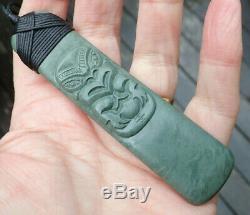 Superb Nz Blue-green Pakohe Argillite Tiki Carved Bound 4 Maori Hei Toki Adze