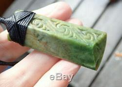 Tainui Nz Greenstone Pounamu Nephrite Flower Jade Engraved Bound Maori Hei Toki